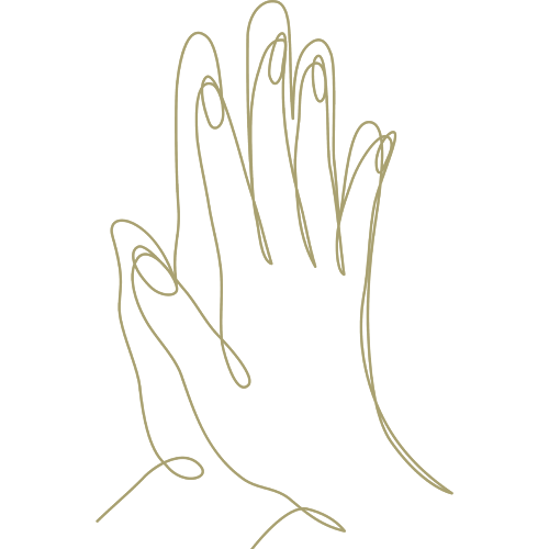 Lineart of 2 hands coming together