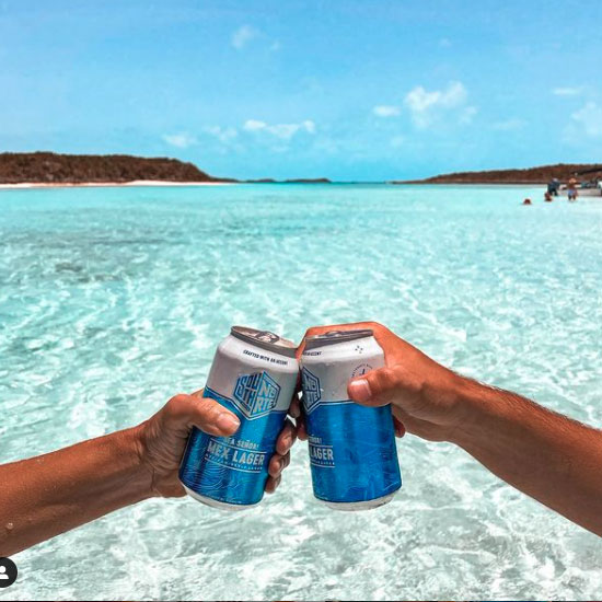 two arms holding cans of SouthNorte toasting in front of the ocean