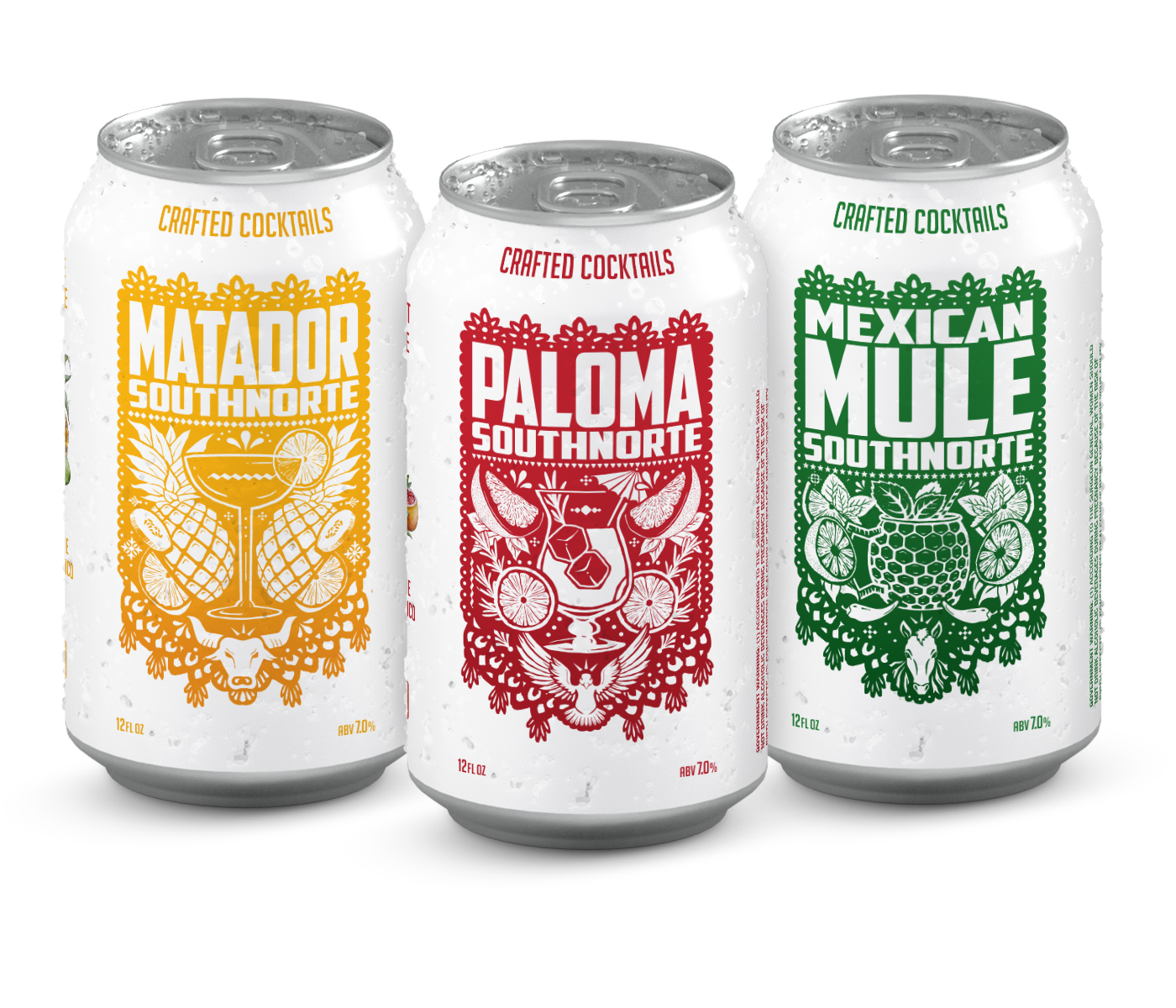 SouthNorte's three crafted cocktails: Matador, Paloma, Mexican Mule