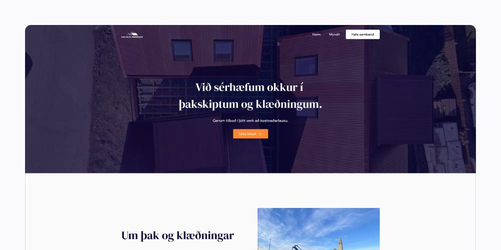 Þak og klæðningar
