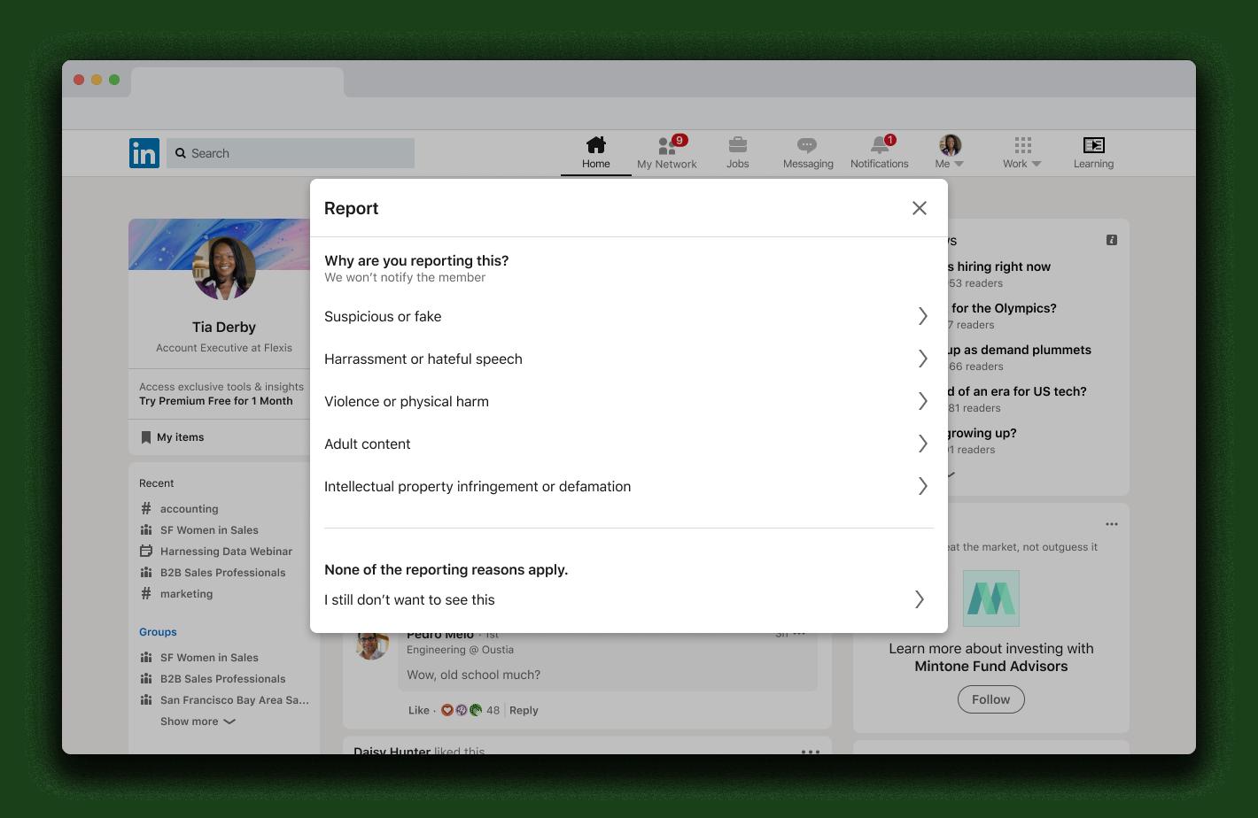 Desktop reporting screen example