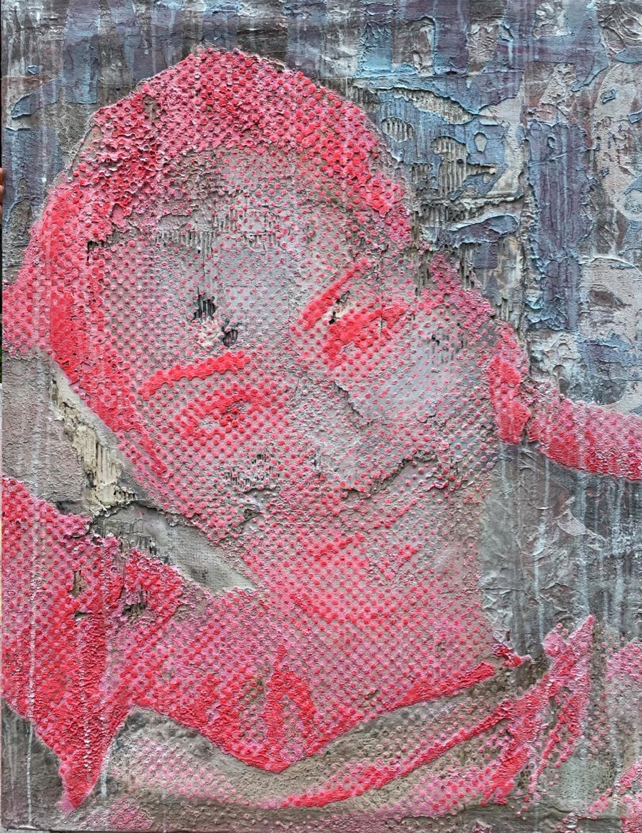 Kalbelia Art series, Womanportraits red, blue, orange