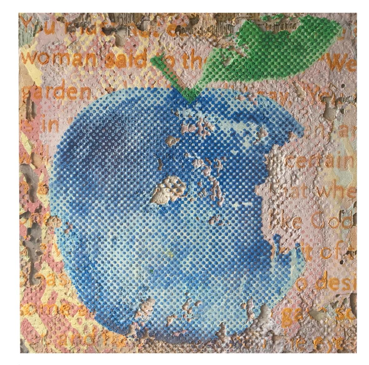 The blue forbidden fruit – apple   2019, 50x50cm