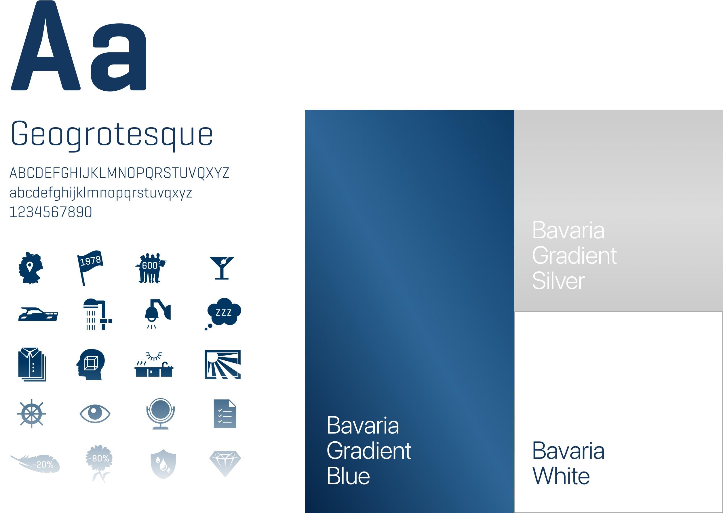Bavaria Yachts – neues Corporate Design: neue Typografie, Iconset, neues Farbklima