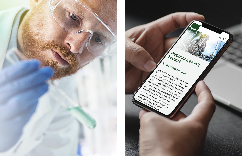 Fauth Chemie – Laborant prüft Flüssigkeit im Reagenzglas