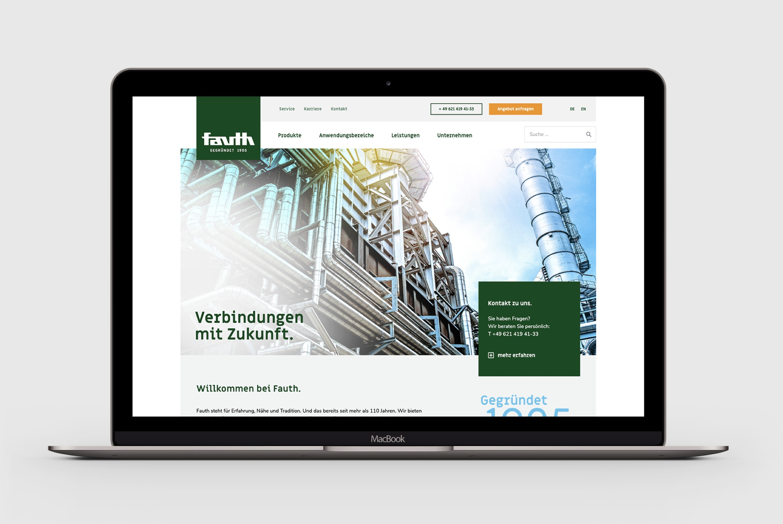 Fauth Chemie – neue Corporate Webseite (Webdesign) auf Apple MacBook