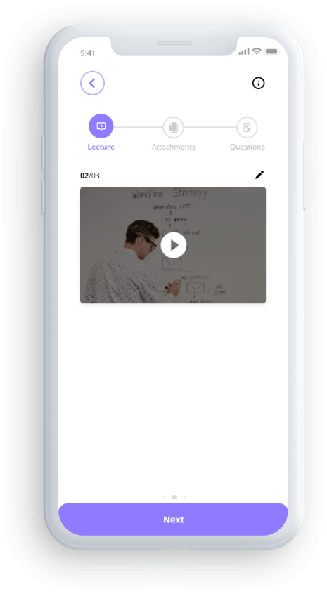 Real mock up image of recording your PaperVideo lecture on the PaperVideo app