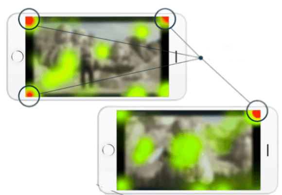 Two mobile phones with heatmaps on the screens.