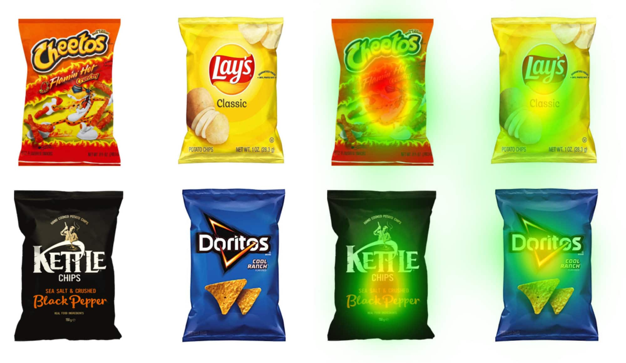 Chips packaging with the NeuroVision heatmaps over them.