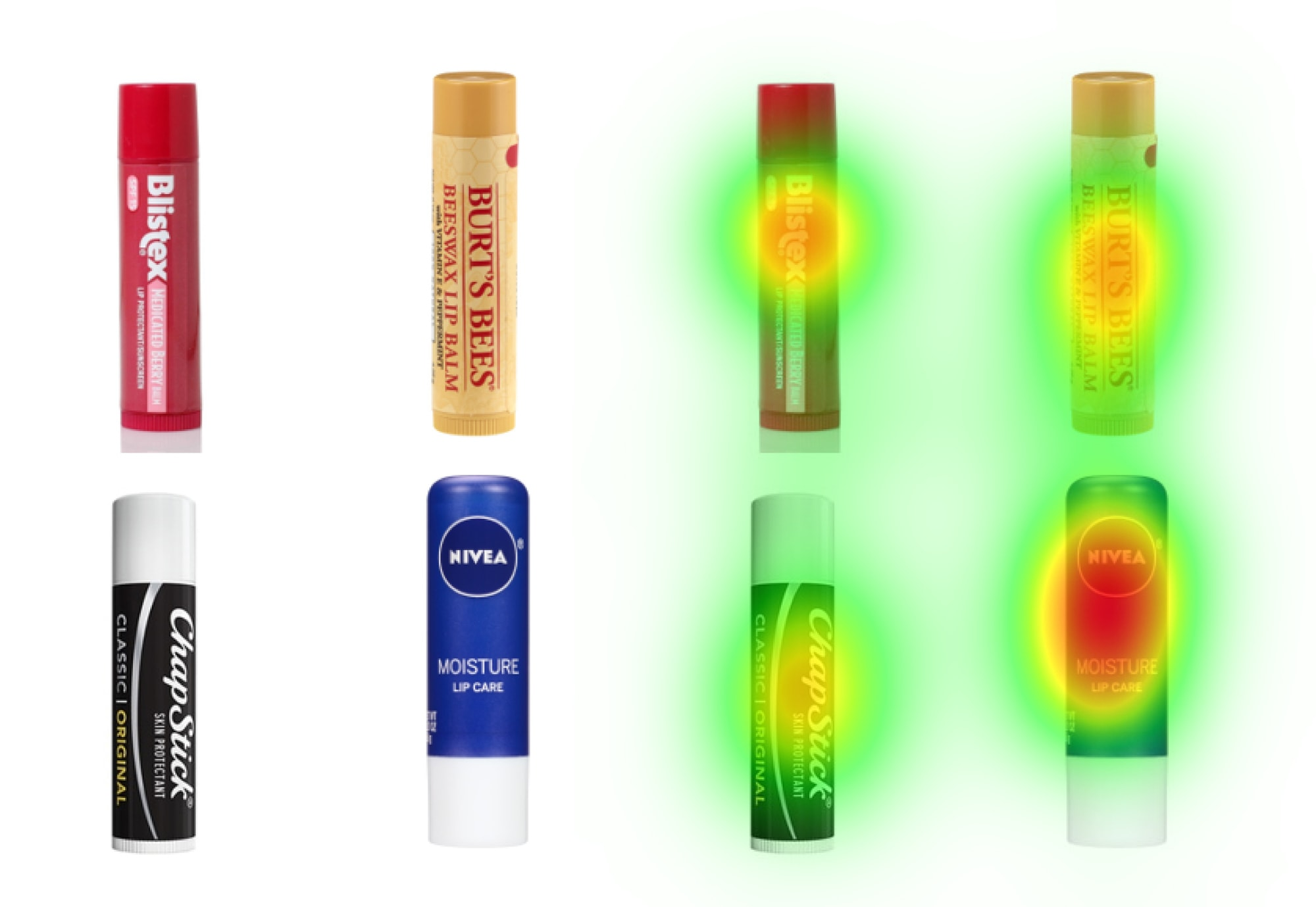 Chapsticks with the NeuroVision heatmaps over them.