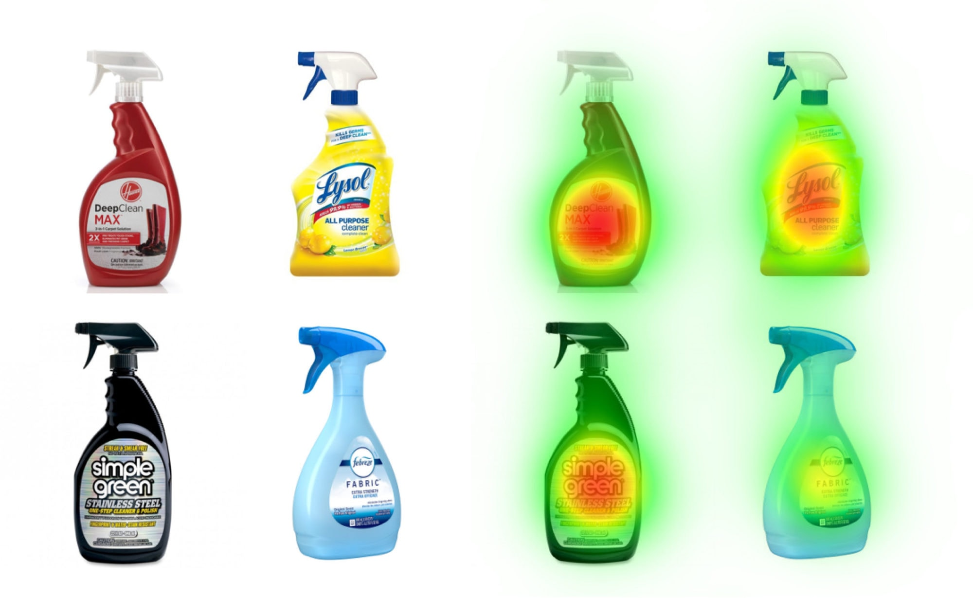 Cleaner bottles with the NeuroVision heatmap over them.