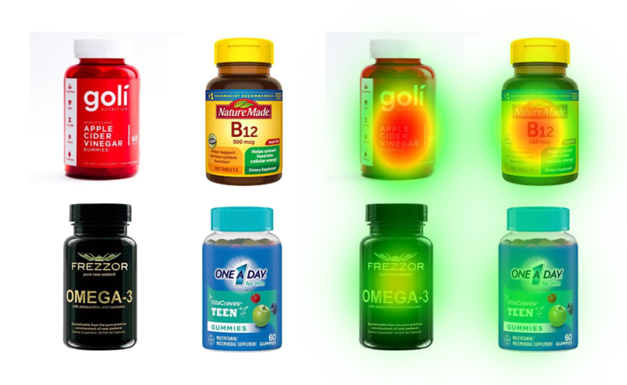 Pill bottles with the NeuroVision heatmap over them.