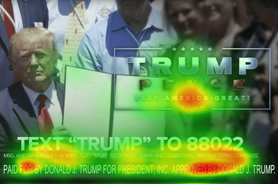 Trump ad with heatmaps over it.