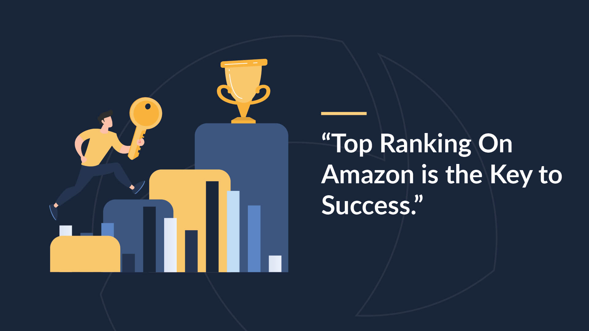"""Image of man climbing stairs to a trophy with a large golden key. Caption """"Top ranking on Amazon is the key to success""""."""