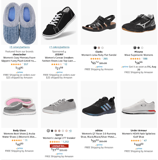"""Screenshot of the first 6 listings for """"women's shoes"""", showcasing the white background present on all listings."""