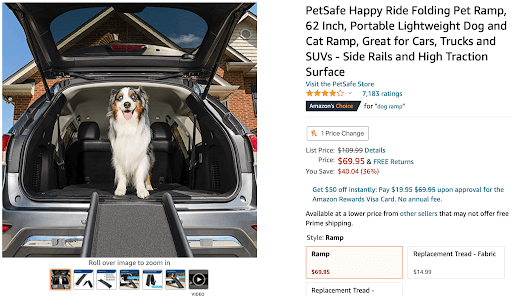 """Screenshot of Amazon's choice listing for the search """"dog ramp""""."""