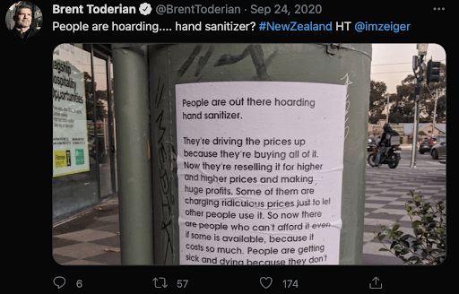 Tweet from the middle of the pandemic complaining about hand sanitizer hoarders.