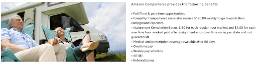 Amazon Camperforce details from Amazon's website.