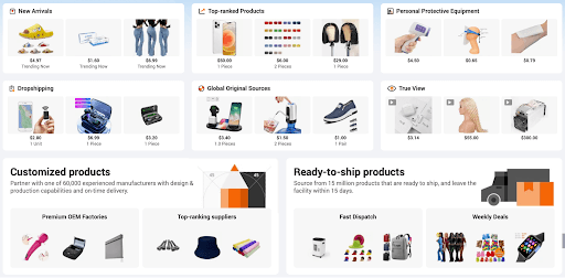 Example of products found on Alibaba.