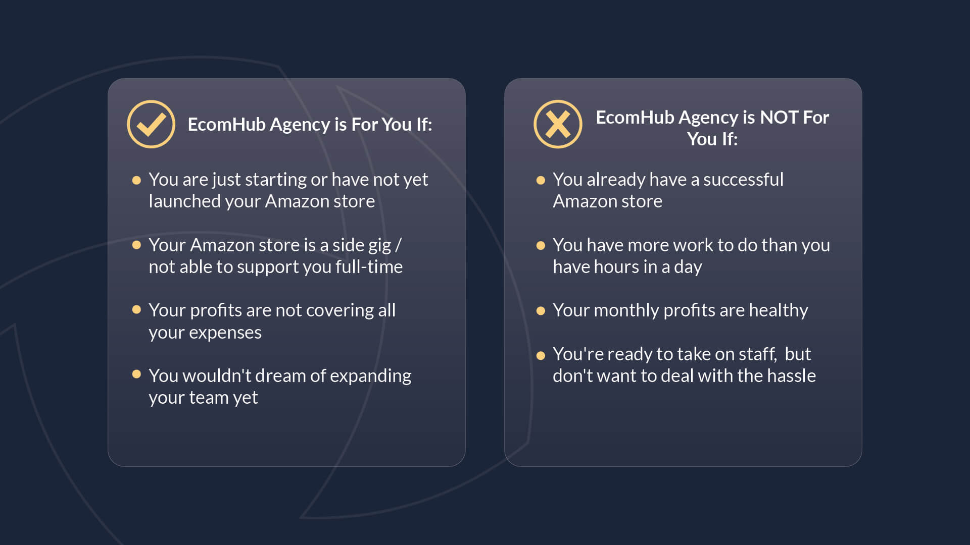 Chart comparing how you know EcomHub Agency is for you and how you know EcomHub Agency is not for you.