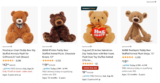 """Picture showing the first 4 sponsored products that are shown for the Amazon search """"teddy bear""""."""