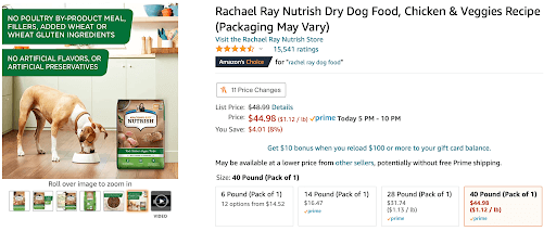Image of Rachel Ray Nutrish Dog Food, showcasing the infographic used in their product listing.