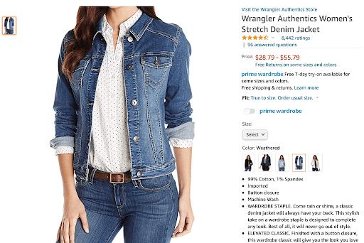 "Top listing on Amazon for ""denim jacket women""."