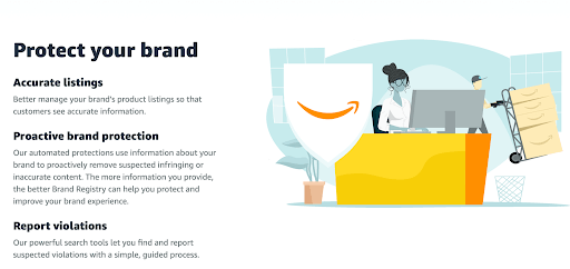 Benefits of using Amazon's Brand Registry as per their website.