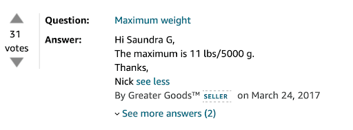 Example of a Seller answered question on Amazon listing.