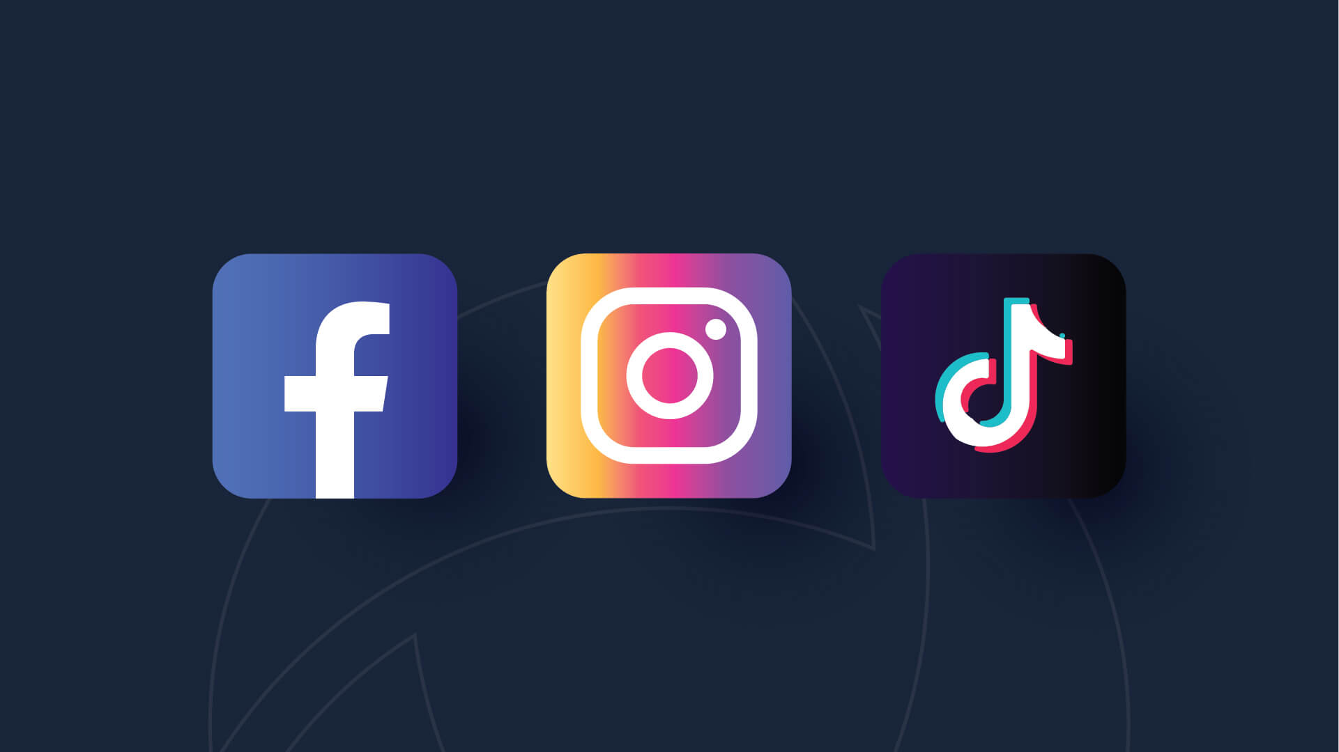 Image with the icons for the popular social media sites, Facebook, Instagram, and TikTok.