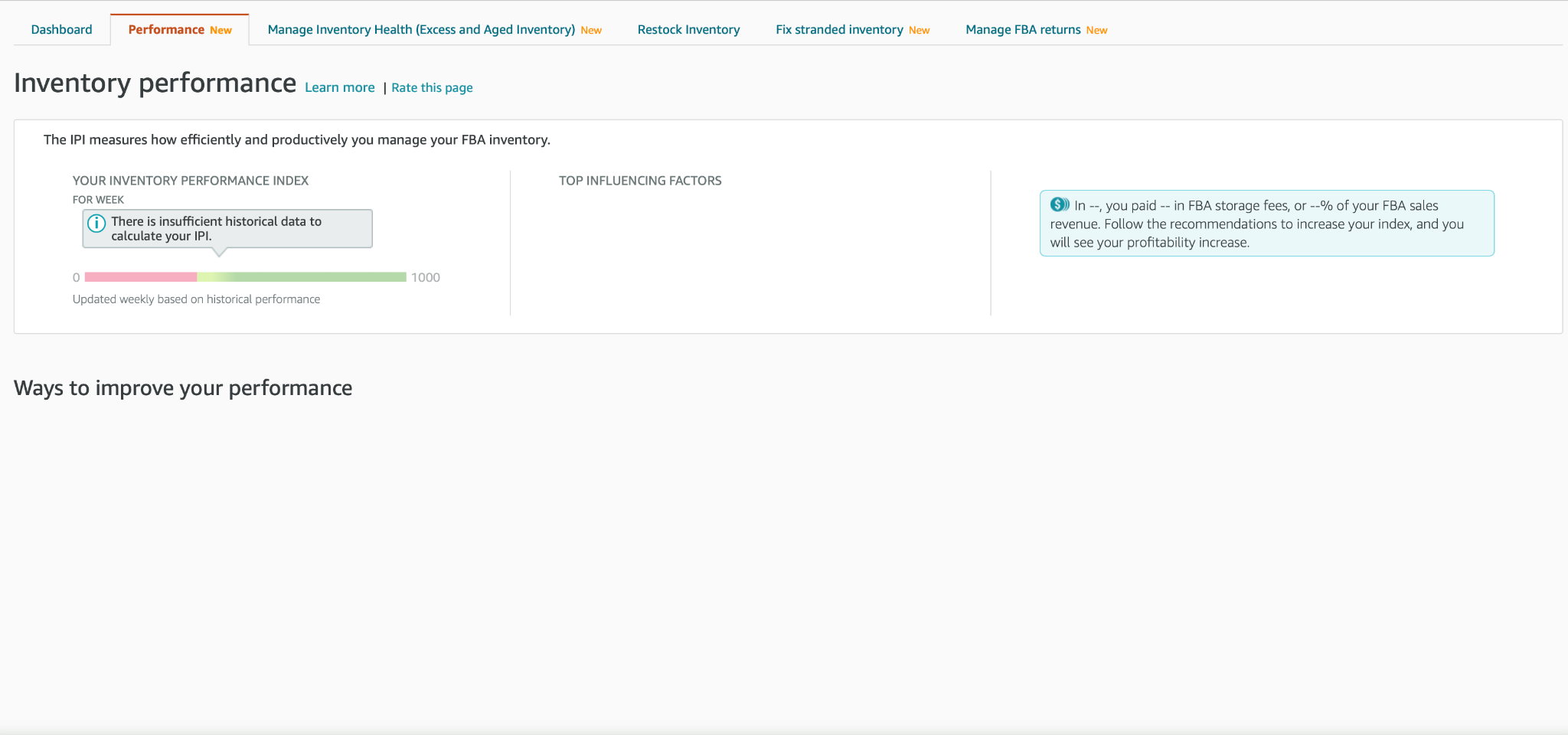 Screenshot of the Industry Performance Tab in Seller Central Account Details.