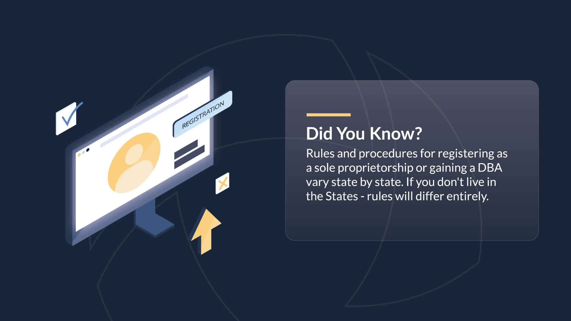 Did You Know? Rules and procedures for registering as a sole proprietorship or gaining a DBA vary state by state. If you don't live in the  States - rules will differ entirely.