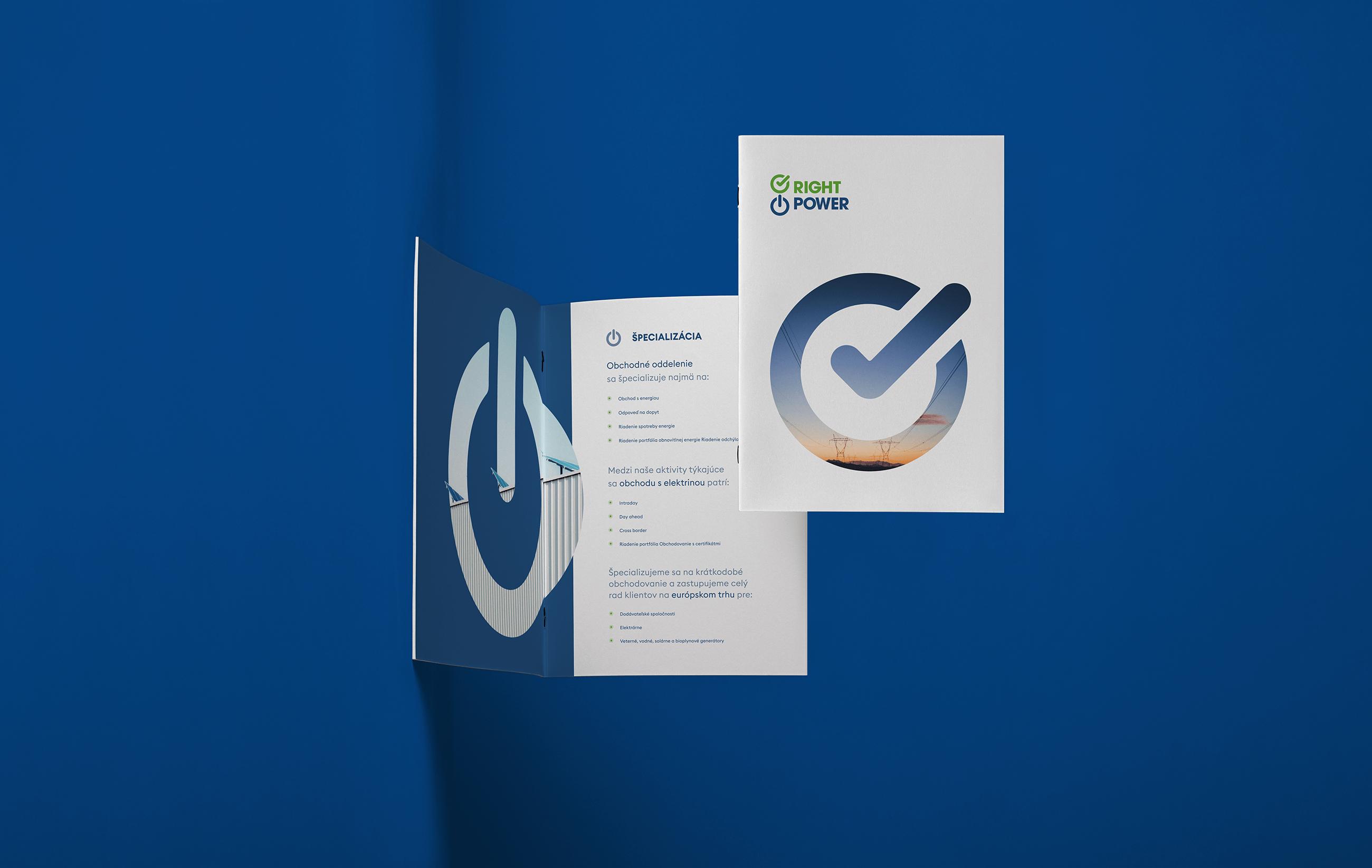 Pohled na modrou brožuru Right Power.