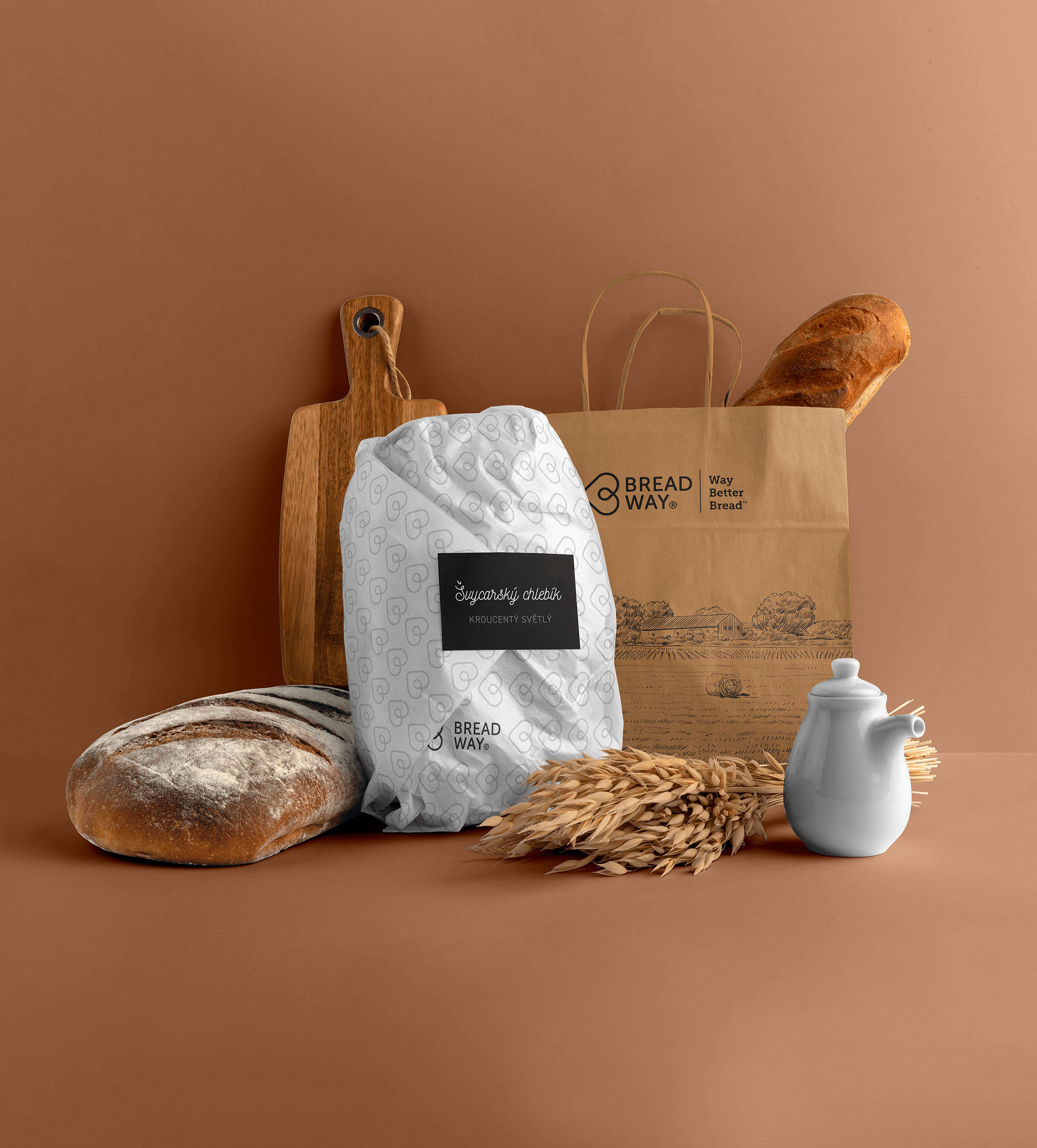 Pohled na tašky s pečivem, které jsou velmi pěkně potisknuté.