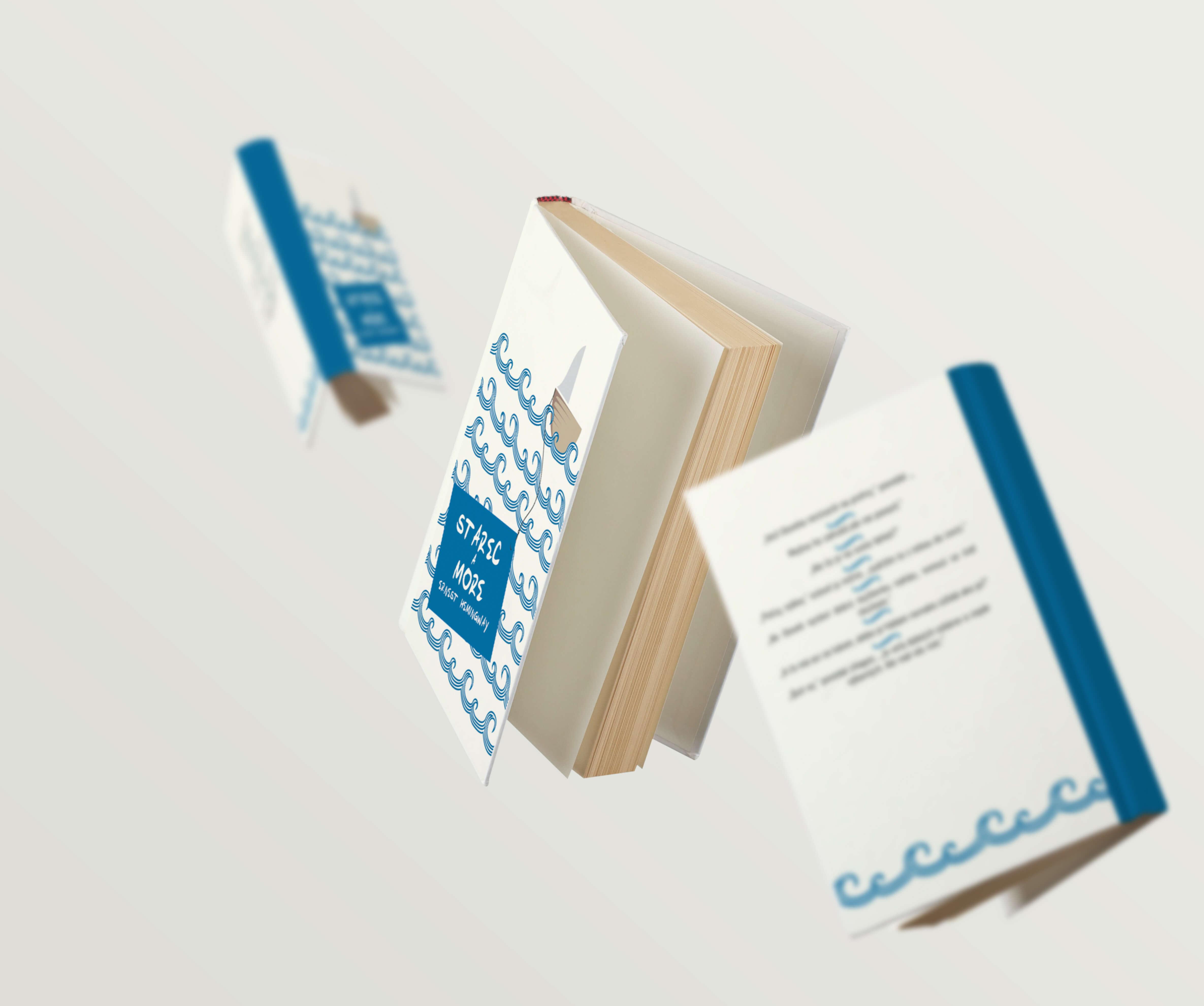Levitující knížky, které mají na obalu kreslené vlny a název a autora knížky.