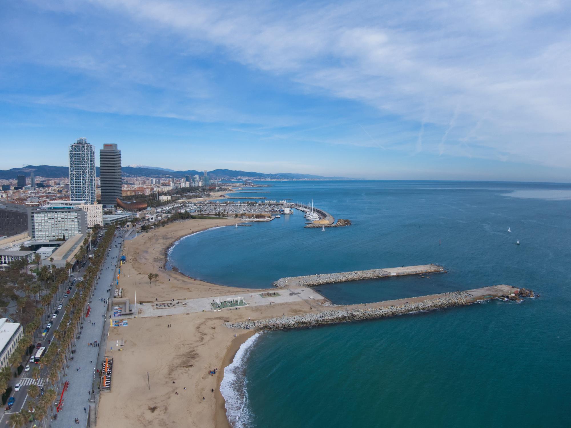 playa de barceloneta, in Barcelona, Spain during a sunny winter day.