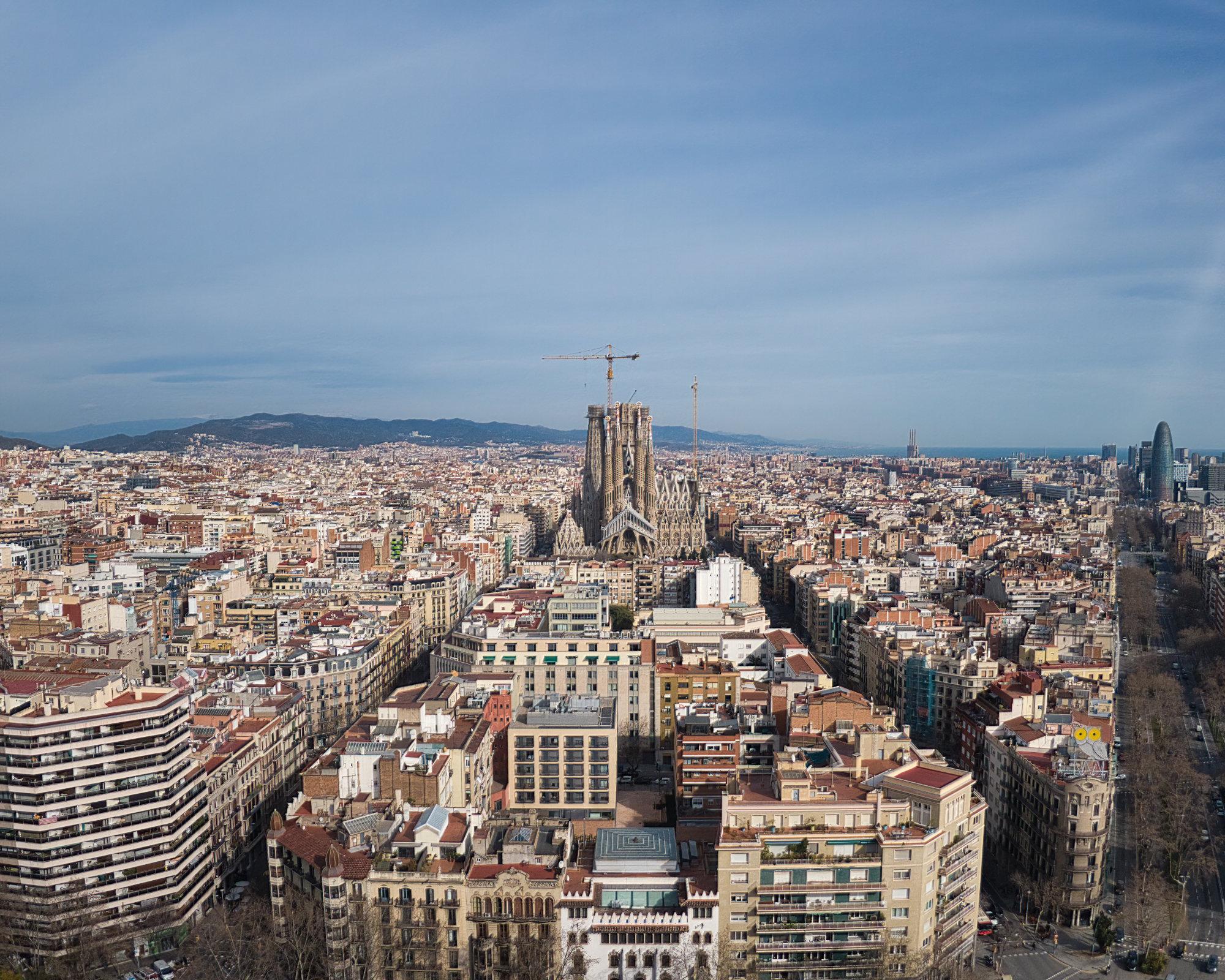 La Sagrada Familia from the sky in Barcelona, Spain.