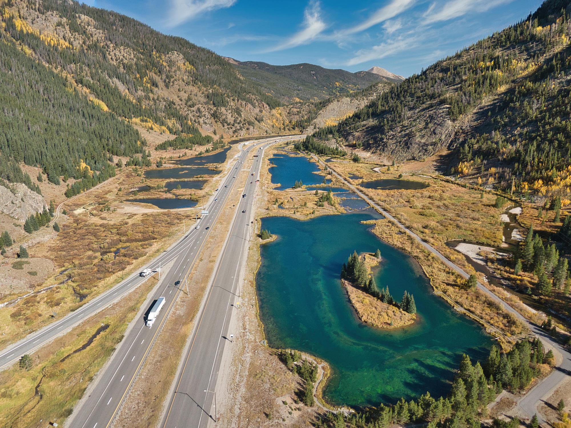 Interstate 70 Westbound in Western Colorado, United States.