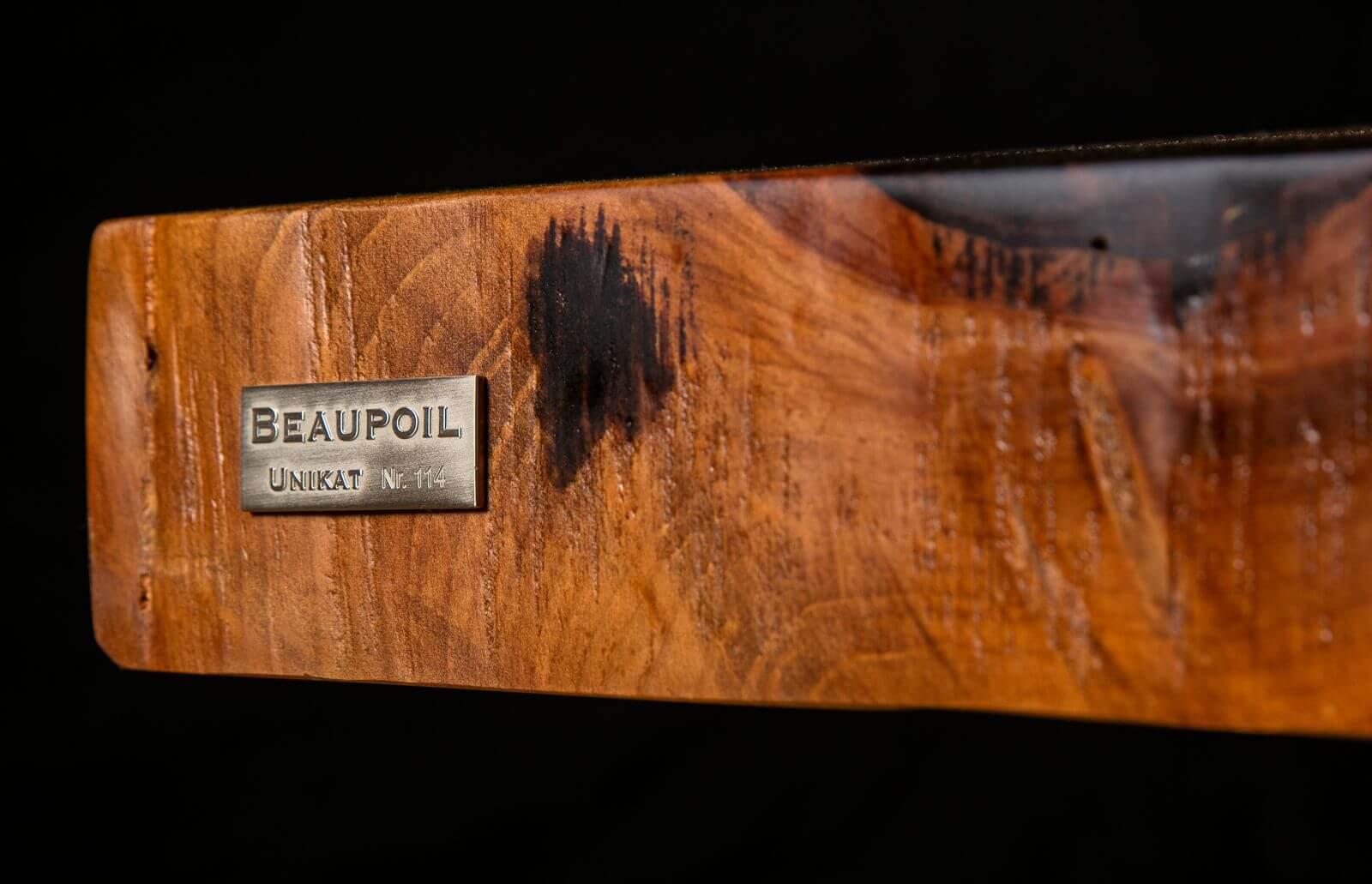 Einzigartige Holztische von Schreinermeister Michael Beaupoil mit Unikat Siegel einzeln und individuell nach Maß handgefertigt