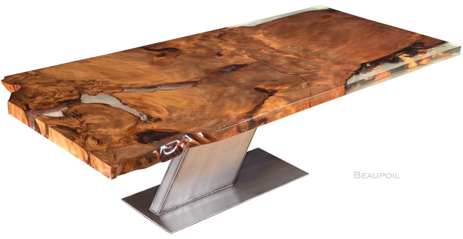 Exklusiver Massivholztisch und ein einzigartiges Möbelunikat von Michael Beaupoil handgefertigt, Kunstwerk Naturholztisch und individueller Holztisch