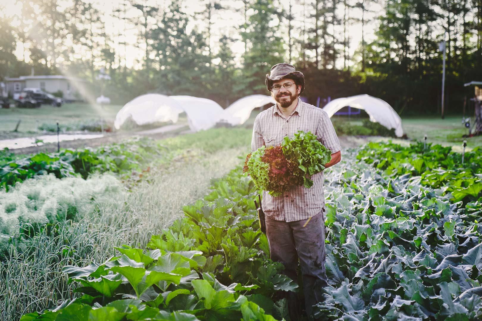 Ray Tyler holding lettuce