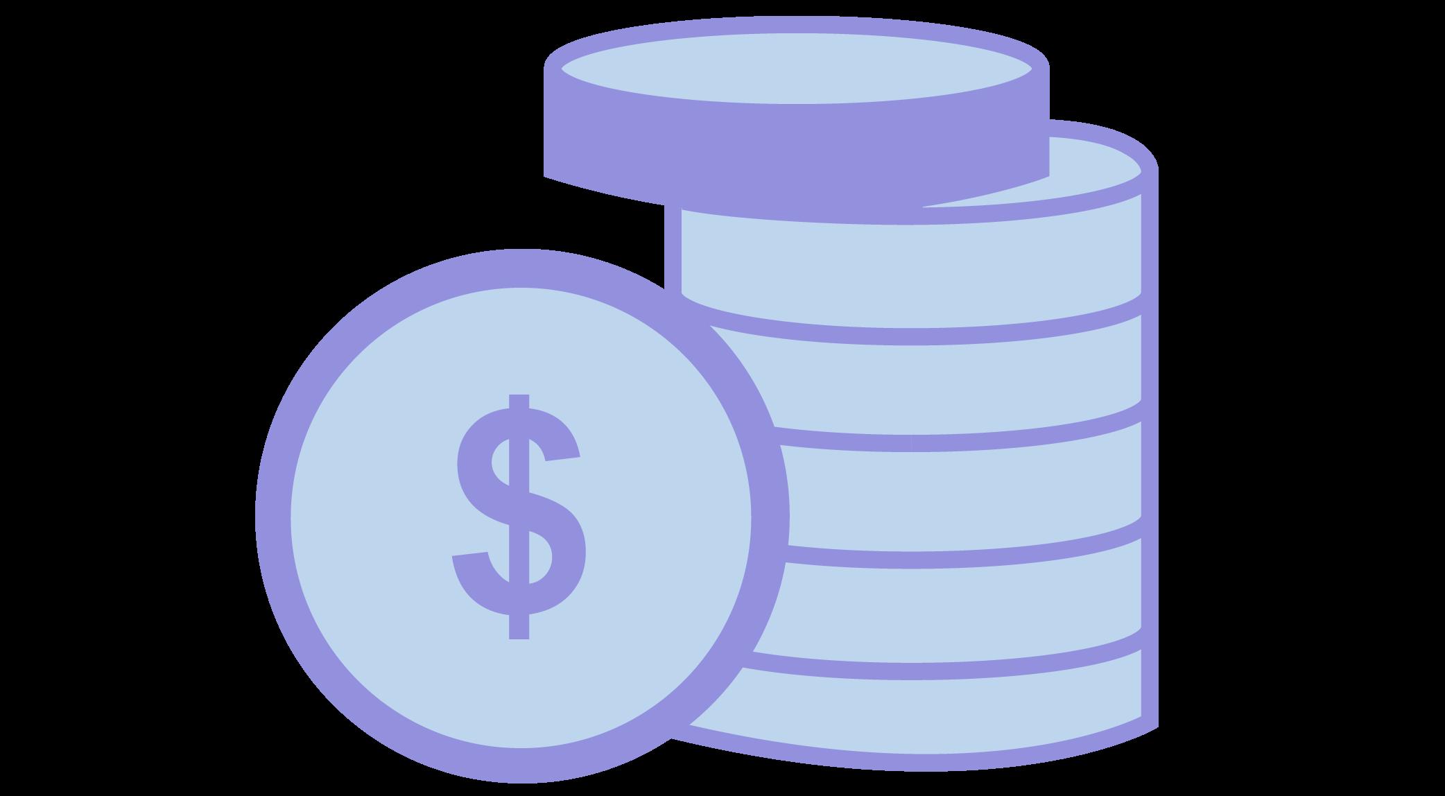 Purple coins icon
