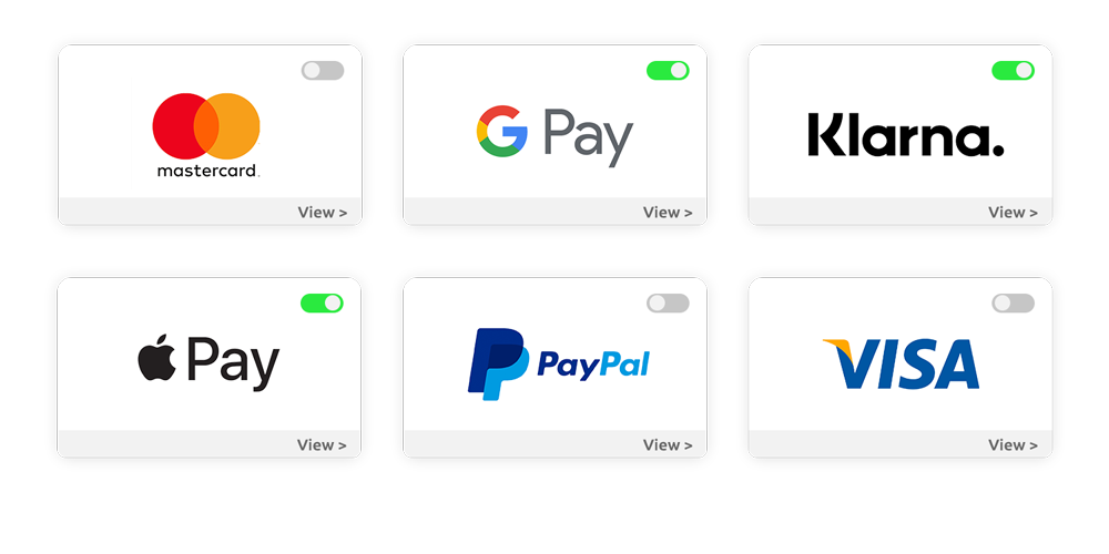 Multiple payment methods with toggle