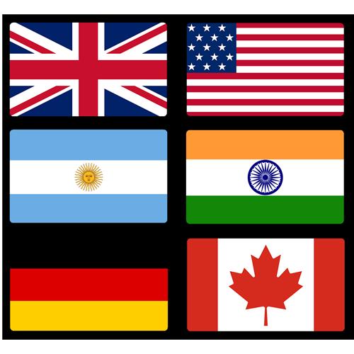 UK, USA, Argentina, India, Germany, Canada flags
