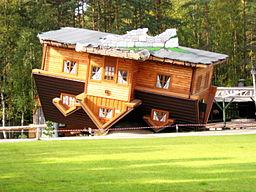 An 'upside-down house' in open-air museum, Szybmark, Poland. - NOT flipping houses. ;-)