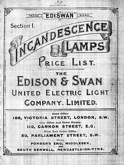 Edison & Swan price list 1893
