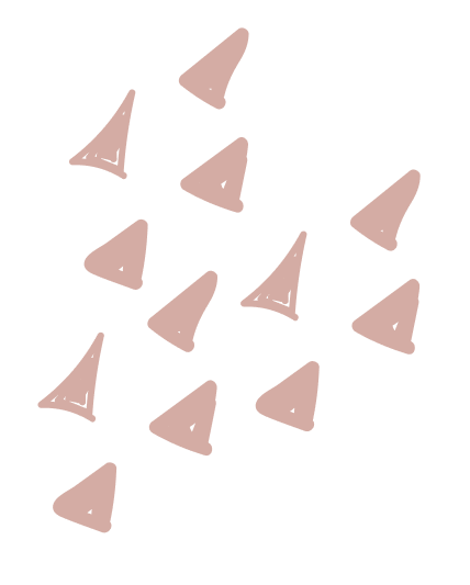 Organic pink triangles creating a triangle pattern