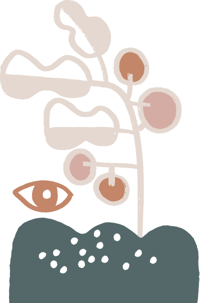 Organic sape depicting a plant with fruits
