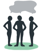 Illustration of three silhouettes standing in a semicircle. Above their head there is a speaking bubble connected with all the speakers