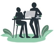 Illustration of two silhouettes sitting at a table, speaking in front of a computer